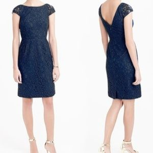JCrew Elsa Dress in Leavers Lace (Navy)